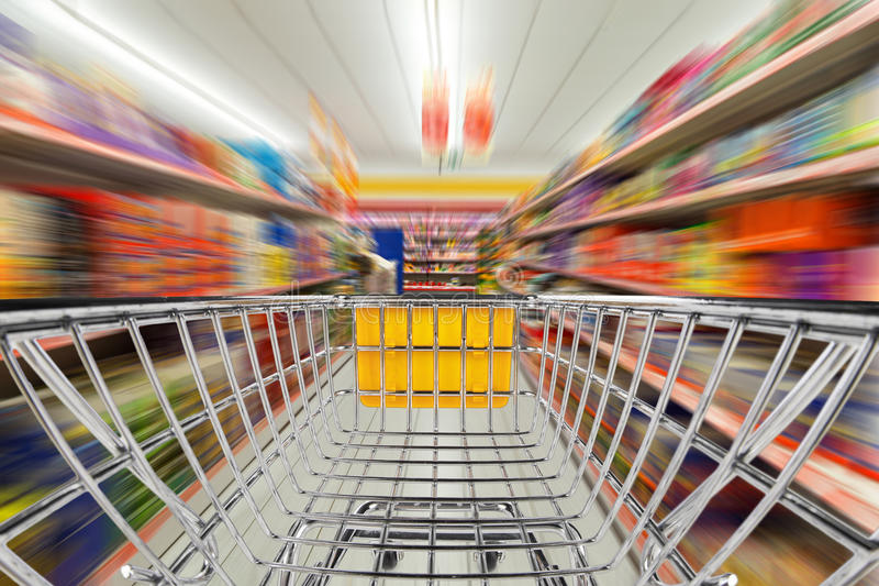 Shop cart in supermarket stock photos