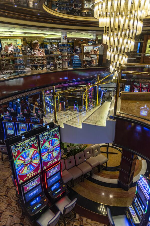 Shop and casino on the Promenade deck on MS Regal Princess. MS Regal Princess is a Royal-class cruise ship operated by Princess Cruises, and the second ship to stock photo