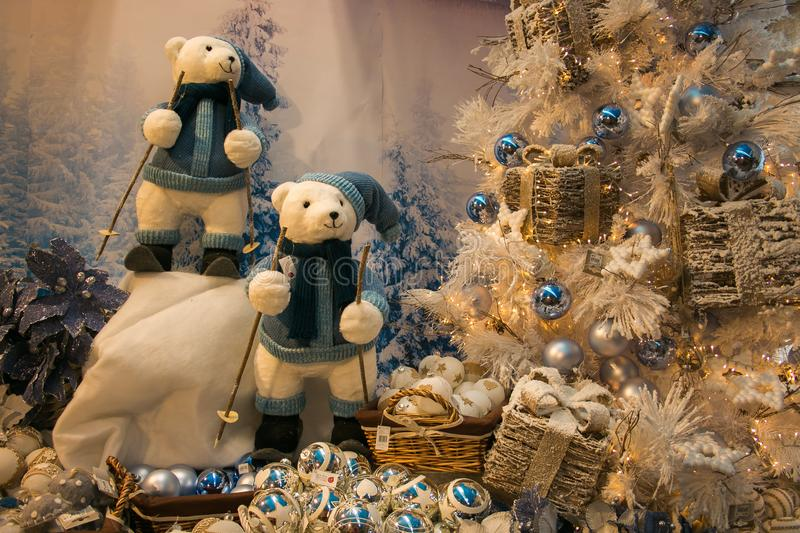 Shop with Christmas tree, decorations and bears in Sant`Elpidio a Mare royalty free stock photos