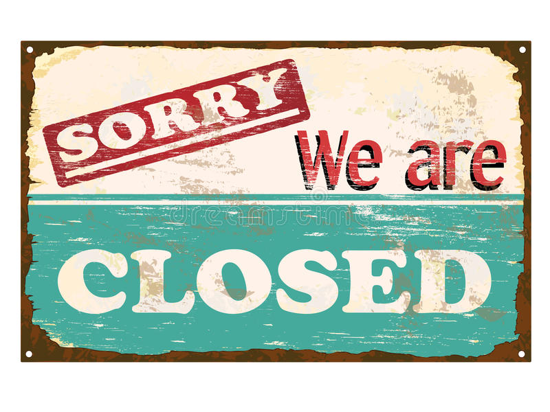 Shop Closed Enamel Sign vector illustration