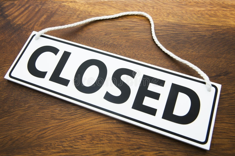 Shop Closed Sign On Wooden Background Stock Photography