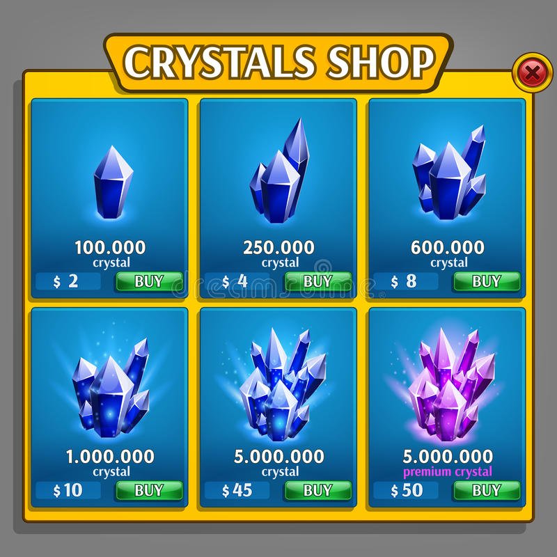 Shop of crystals panel, game asset with mineral icons. Vector illustration vector illustration