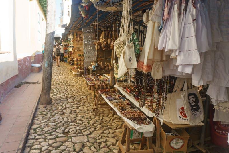 Trinidad, Cuba, January 3, 2017: Touristic souvenir market royalty free stock photo