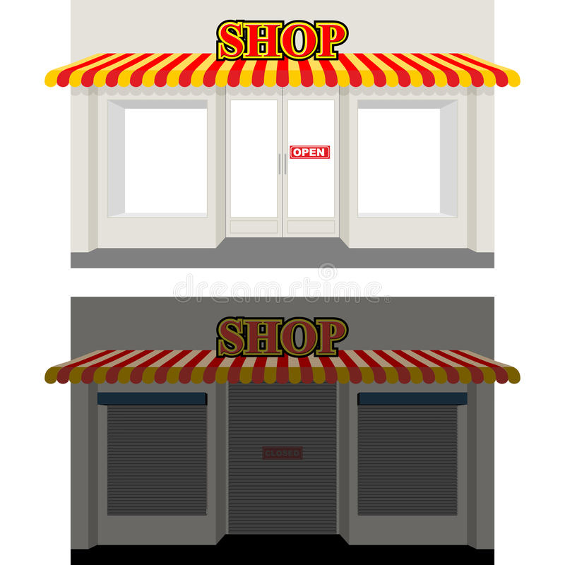 Open Window At Dusk: Storefront Stock Illustrations