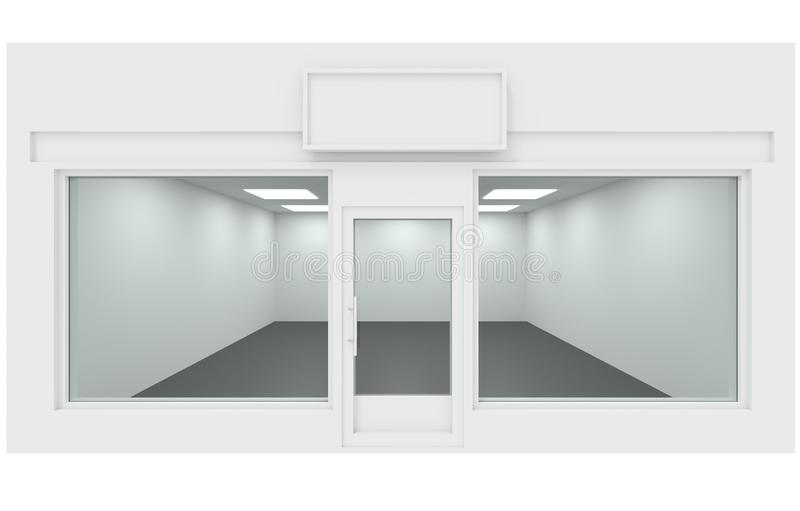 Shop design facade, empty store place 3d rendering royalty free illustration