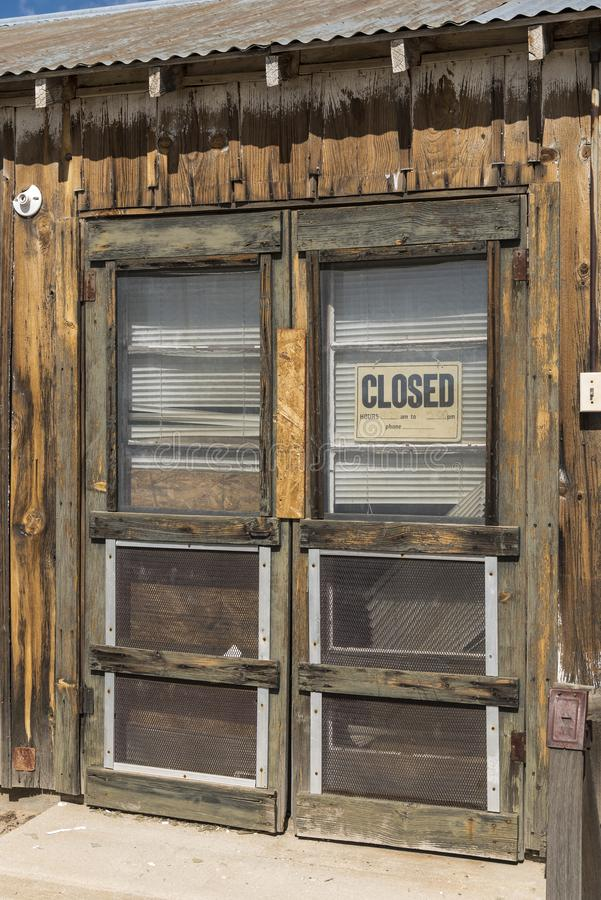Shop Door at Cima Station Mojave Preserve. Cima is a small unincorporated community in the Mojave Desert of San Bernardino County, California, in the United stock photo