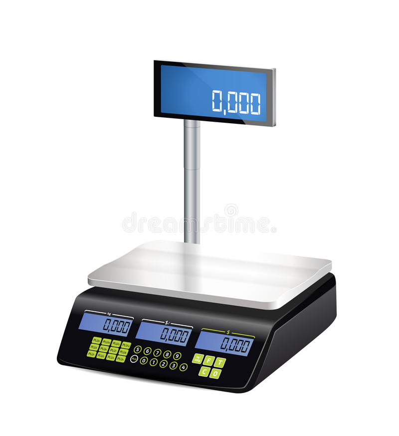 Shop electronic scales - shopping royalty free illustration