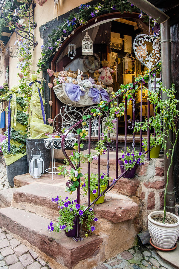 Shop Entrance with Decoration royalty free stock photography