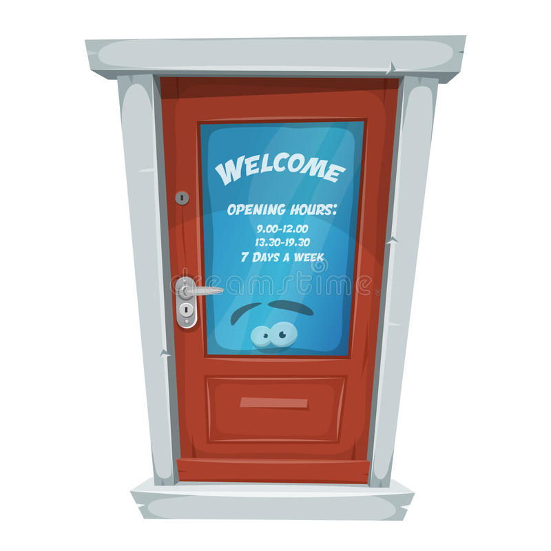 Shop Entrance Door With Opening Hours royalty free illustration