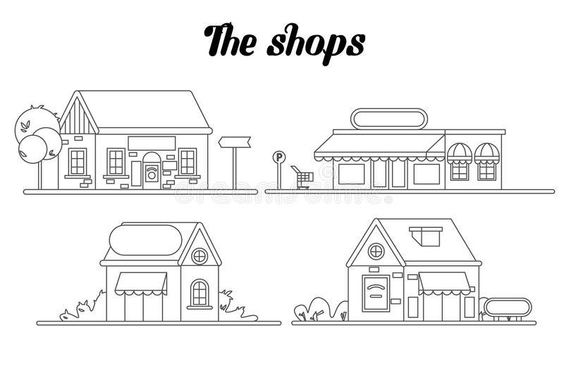 Shop facade on our street. Flat vector line stock illustration