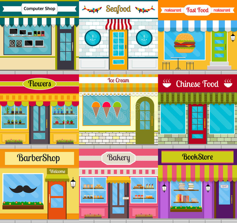 Shop facades and restaurant fronts set. Set of different store fronts in flat style. Vector illustration of city public buildings square architecture vector illustration