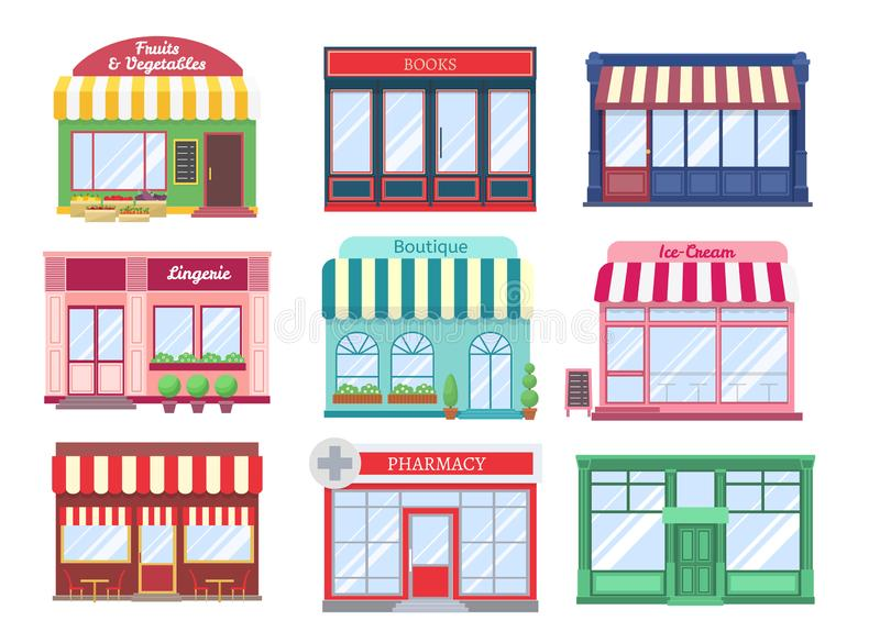 Shop flat buildings. Modern store facade cartoon boutique street building storefront restaurant houses. Shopping vector stock illustration