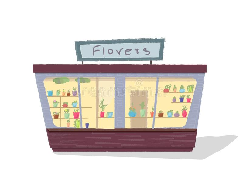 Shop flowers, vector stock illustration
