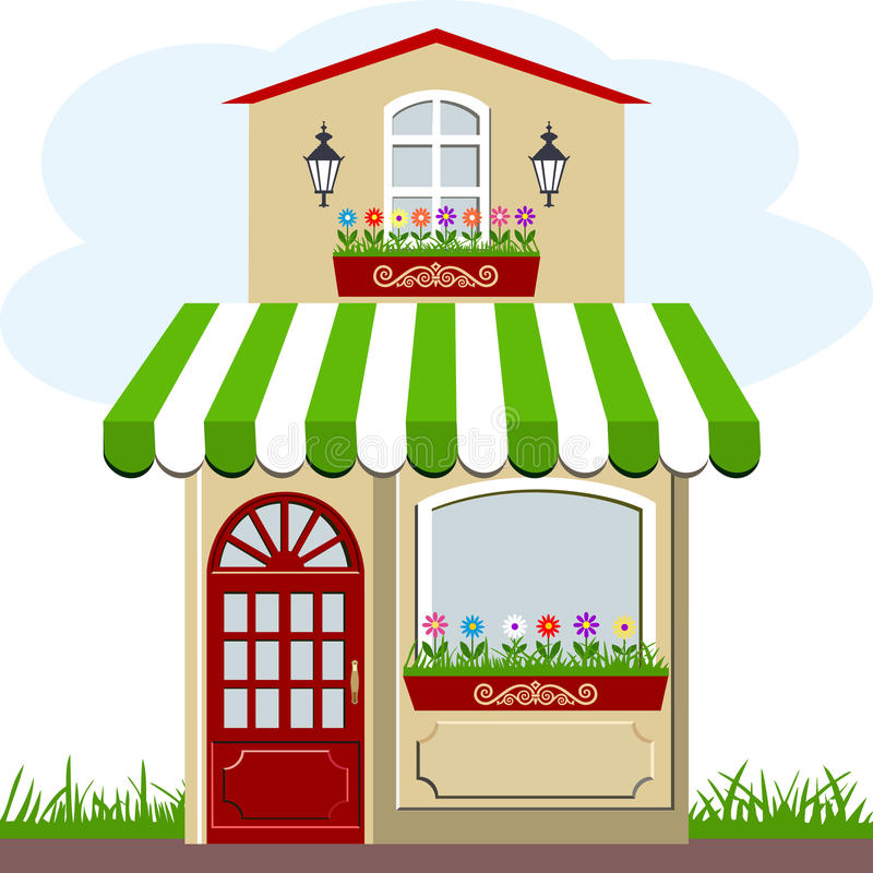 Shop front with awning stock illustration