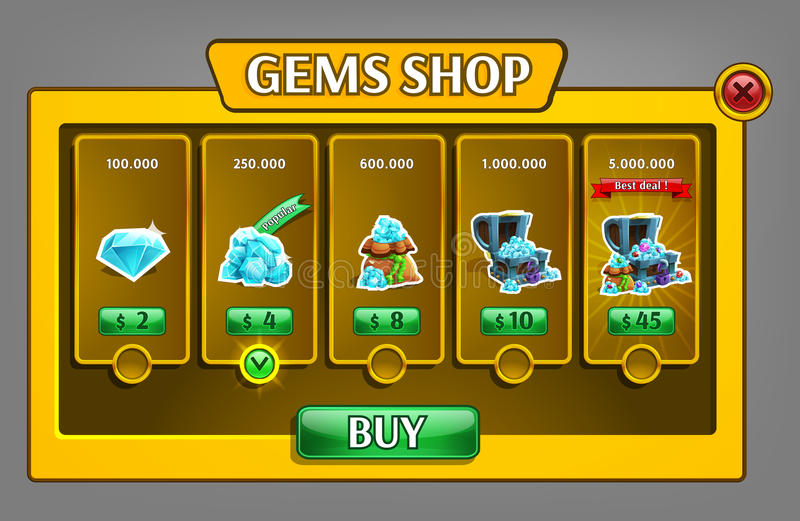 Shop gems panel, game asset with gems icons. stock illustration