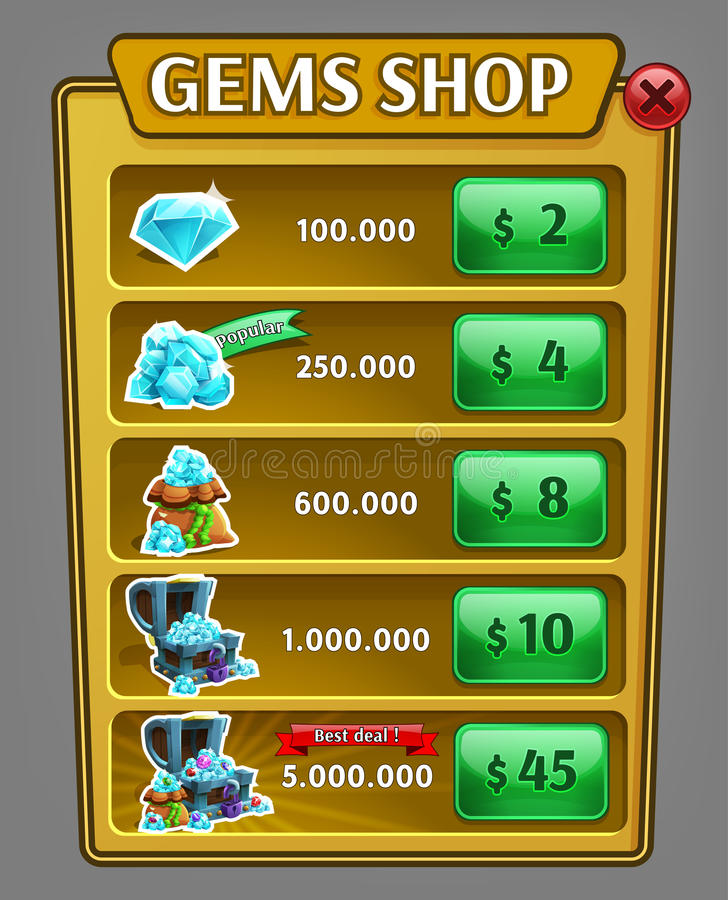 Shop gems panel, game asset with gems icons. royalty free illustration
