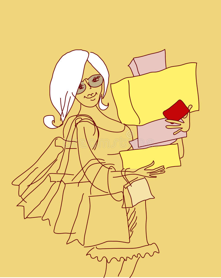 Download Shop girl stock vector. Illustration of girl, satisfied - 23204158