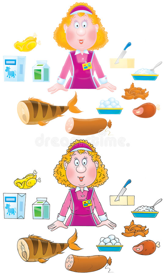 Shop girl and foodstuffs royalty free illustration
