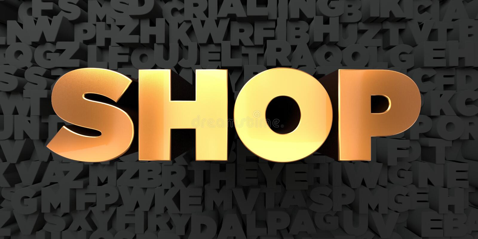 Shop - Gold text on black background - 3D rendered royalty free stock picture vector illustration