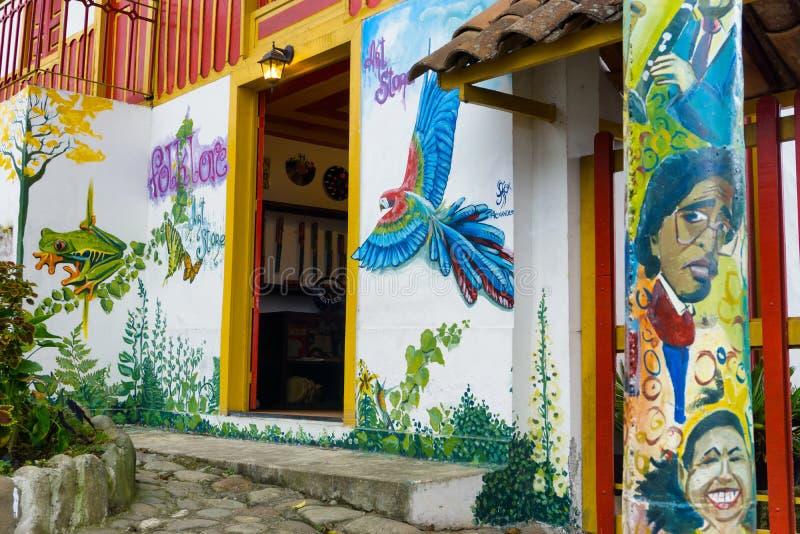 Shop and Graffiti in Salento, Colombia stock image