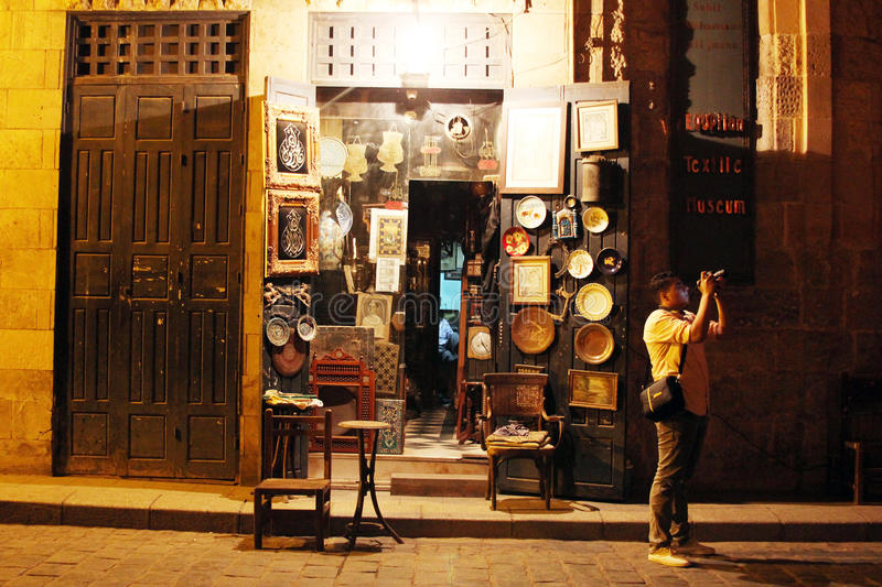 Shop in historical Moez street in egypt. Shop selling antiques in historical Moez street in old cairo in egypt stock photos