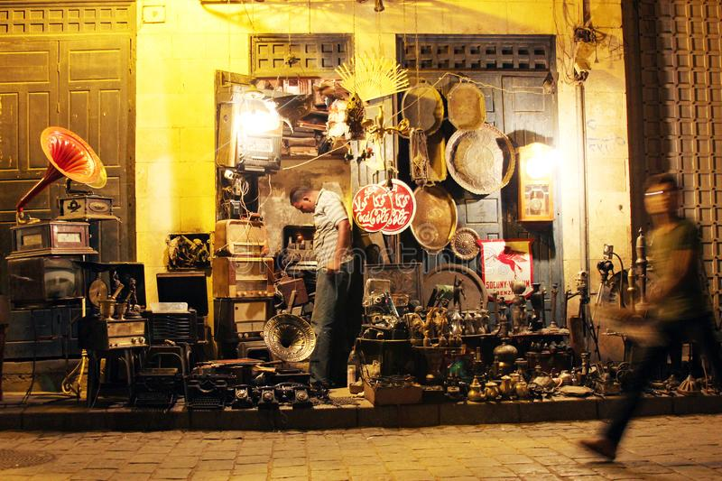 Shop in historical Moez street in egypt. Shop selling antiques in historical Moez street in old cairo in egypt royalty free stock images