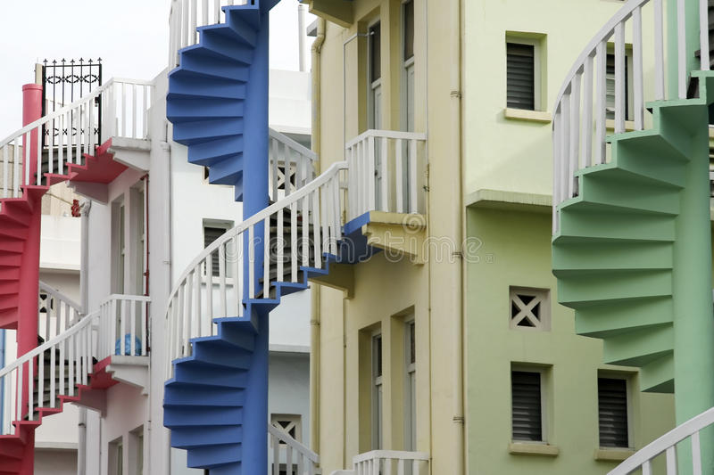 Shop house staircases singapore. Colorful fire escapes at the back of traditional chinese shop houses in singapore city state stock photography