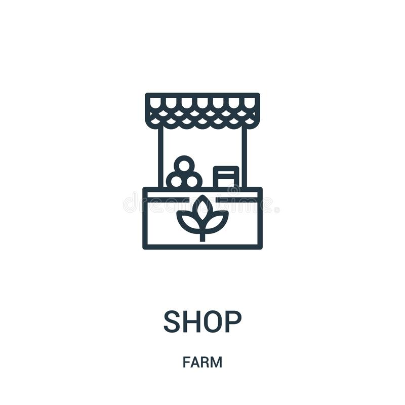 Shop icon vector from farm collection. Thin line shop outline icon vector illustration. Linear symbol for use on web and mobile. Apps, logo, print media royalty free illustration