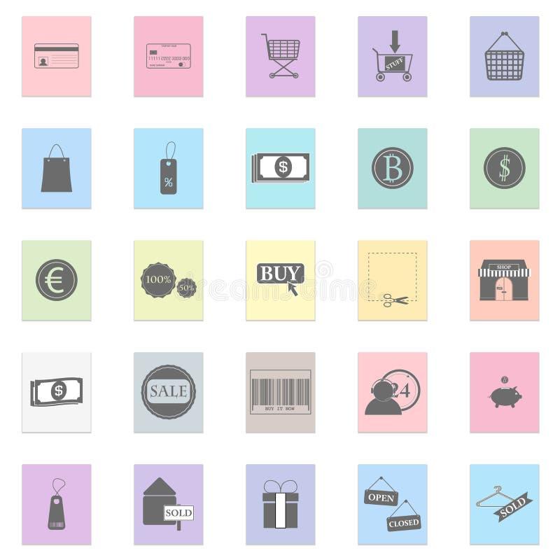 Shop illustration set Vector black icon on color sticker vector illustration