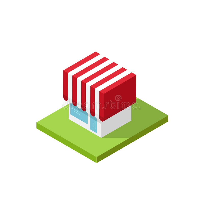 Shop isometric vector illustration, 3d store building simple royalty free illustration