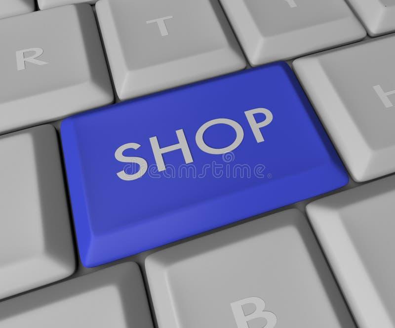 Shop Key on Computer Keyboard. A blue button reading SHOP on a computer keyboard royalty free illustration
