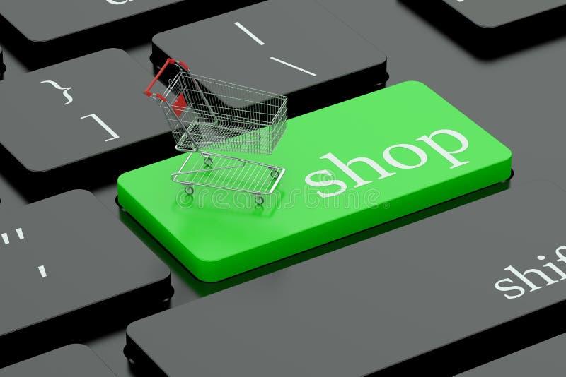 Shop keyboard button. Shop conncept on green keyboard button stock illustration