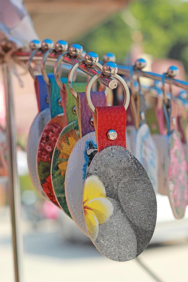 Shop Keychain handmade in the market.  stock images