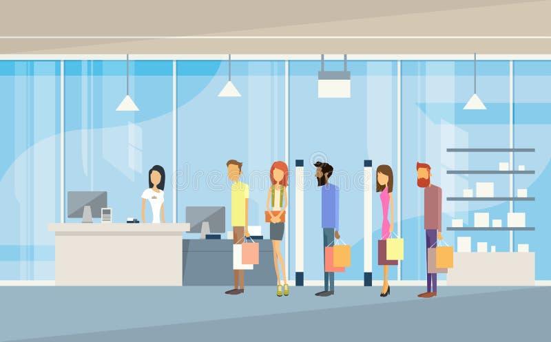 Shop-Leute-Gruppe mit Taschen-Linie Bargeld-Schreibtisch-Einkaufszentrum vektor abbildung