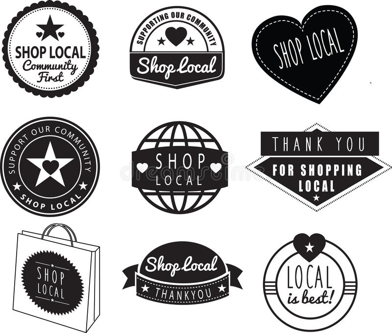 Shop local, community shops and stores logos vector illustration