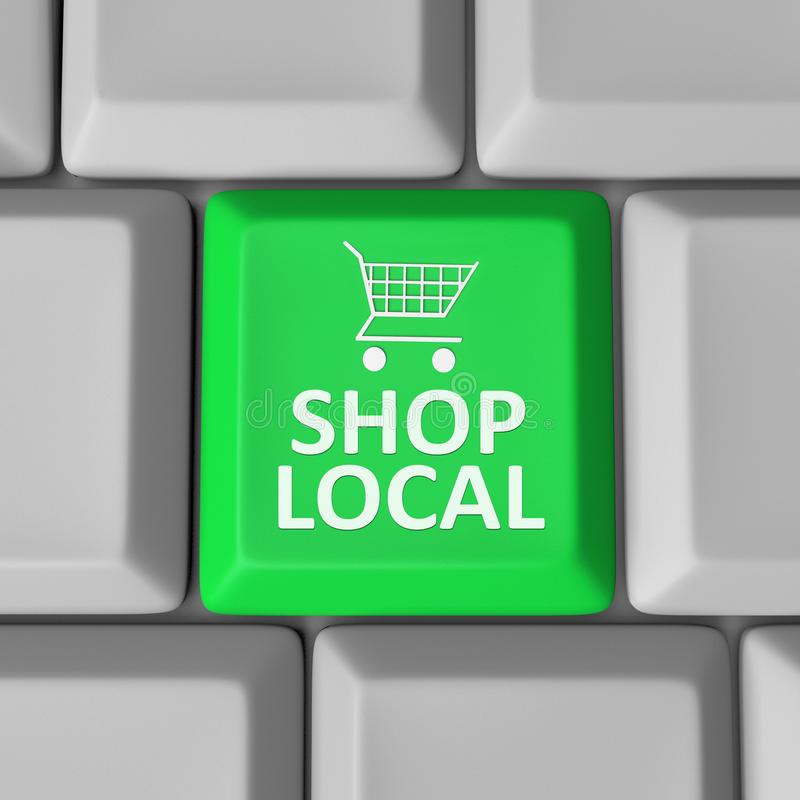 Shop Local Computer Key Shopping Cart Support Community vector illustration