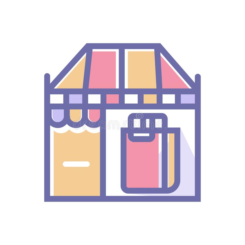 Shop or market perfect icon. vector shop with shopping bag perfect icon illustration- vector stock illustration