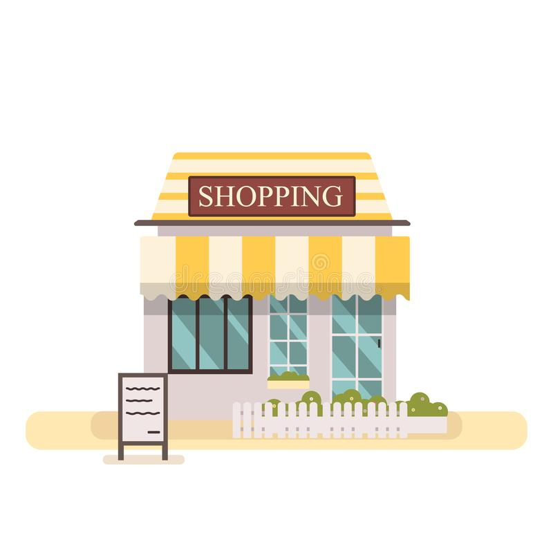 Shop or market store.Cute flat design store buiding vector illustration.Facade shopping store building with white fench stock illustration