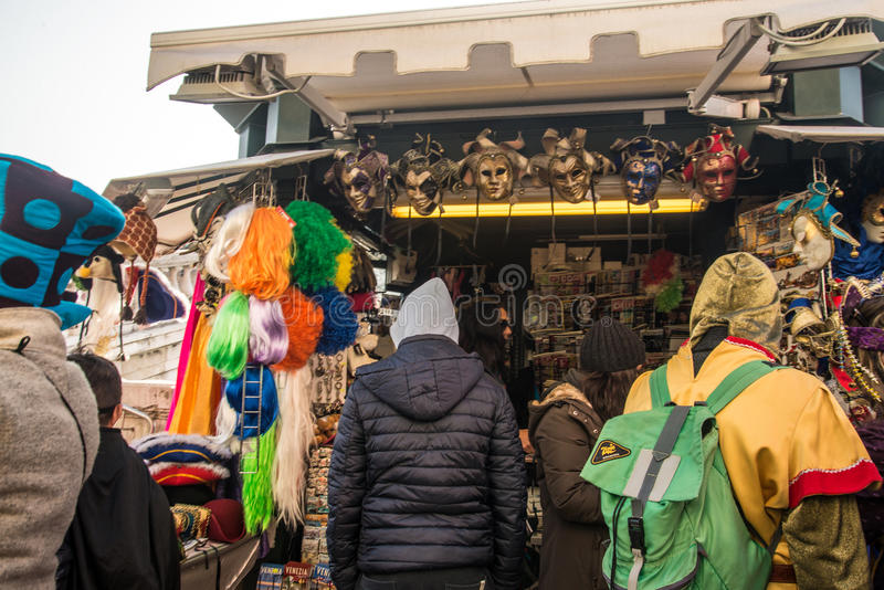 Shop with masks. Venice is one of the most famous cities in Italy. It`s always full of tourists. The symbol of the city is the mask. There are numerous shops royalty free stock photo