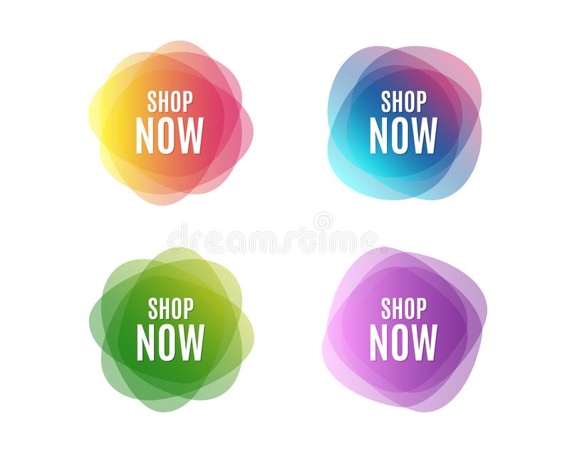 Shop now symbol. Special offer sign. Retail Advertising. Colorful round banners. Overlay colors shapes. Abstract design concept. Vector royalty free illustration