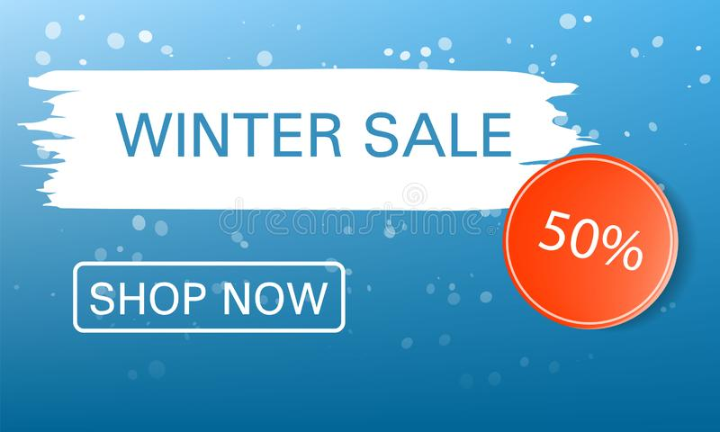 Shop now winter sale concept background, realistic style stock illustration