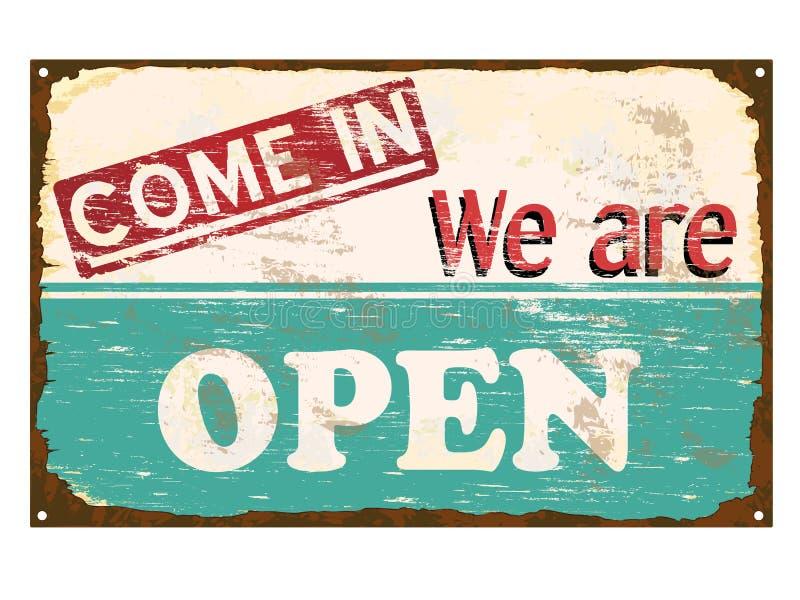 Shop Open Enamel Sign stock illustration