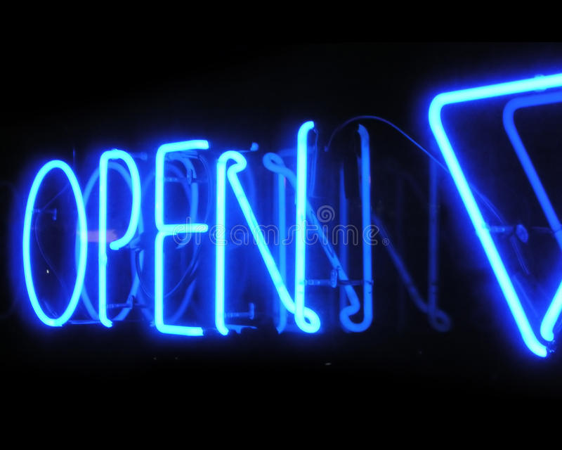 Shop open neon sign at night royalty free stock photos