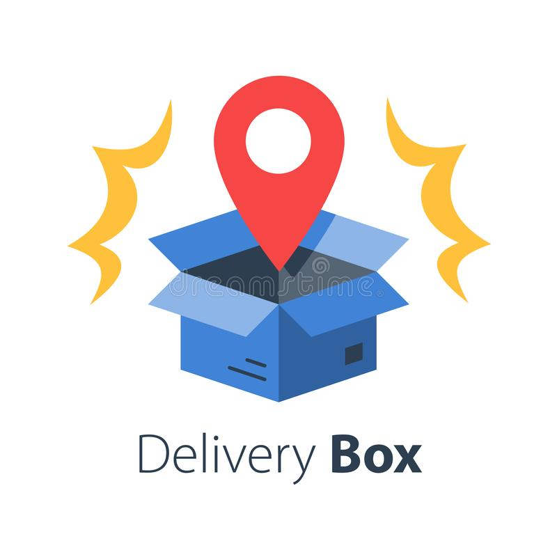 Free Shop Order Delivery, Open Box And Location Pin, Receive Postal Parcel, Pick Up Point Royalty Free Stock Images - 156971039