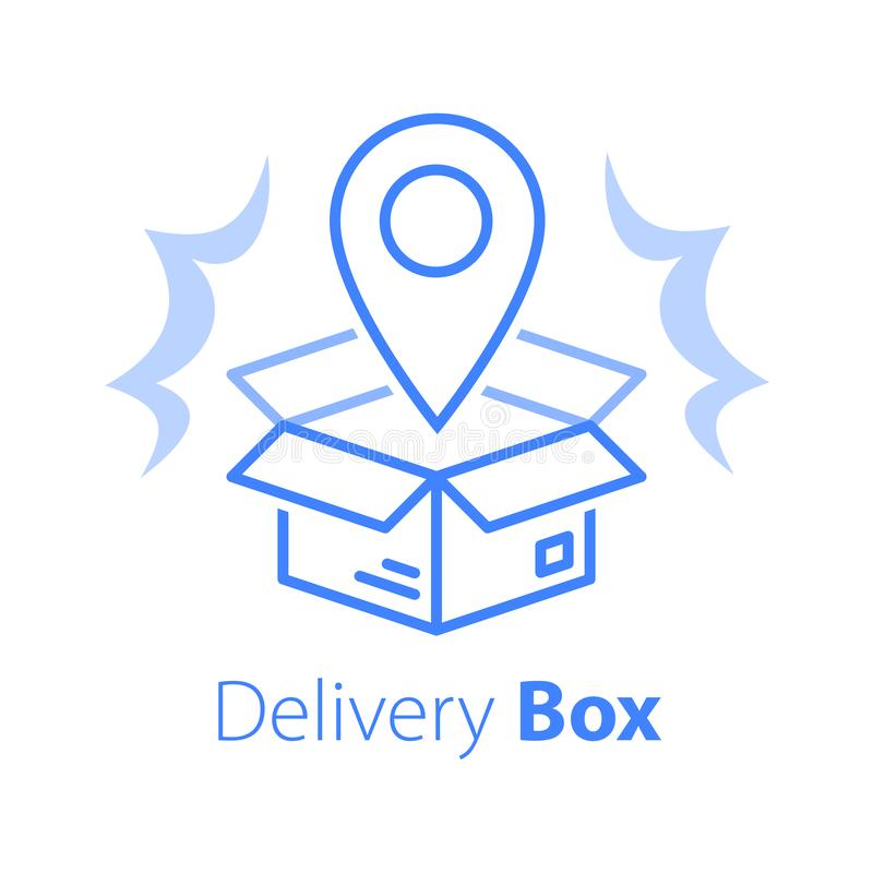 Free Shop Order Delivery, Open Box And Location Pin, Receive Postal Parcel, Pick Up Point Stock Photography - 163411112