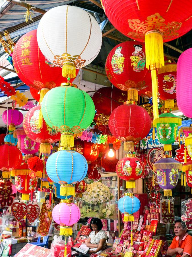 Shop on paper street selling chinese style lanterns royalty free stock photo