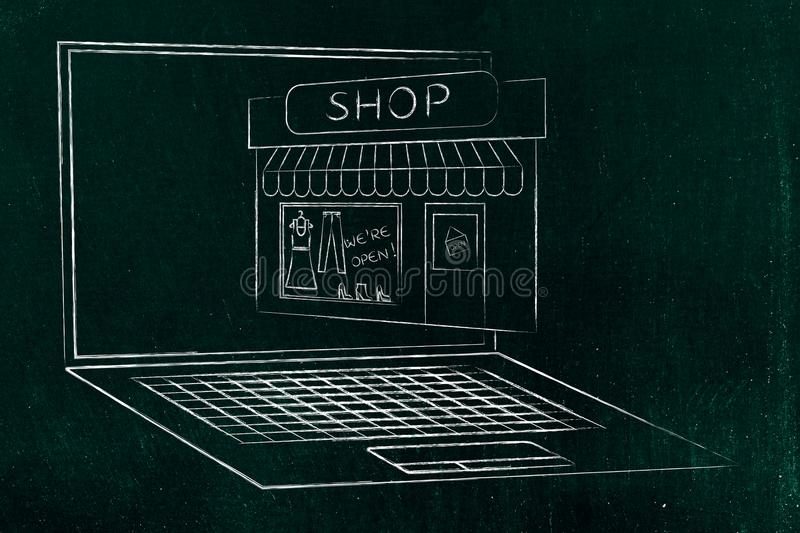Shop popping out of laptop screen. Concept of online stores and businesses stock photo