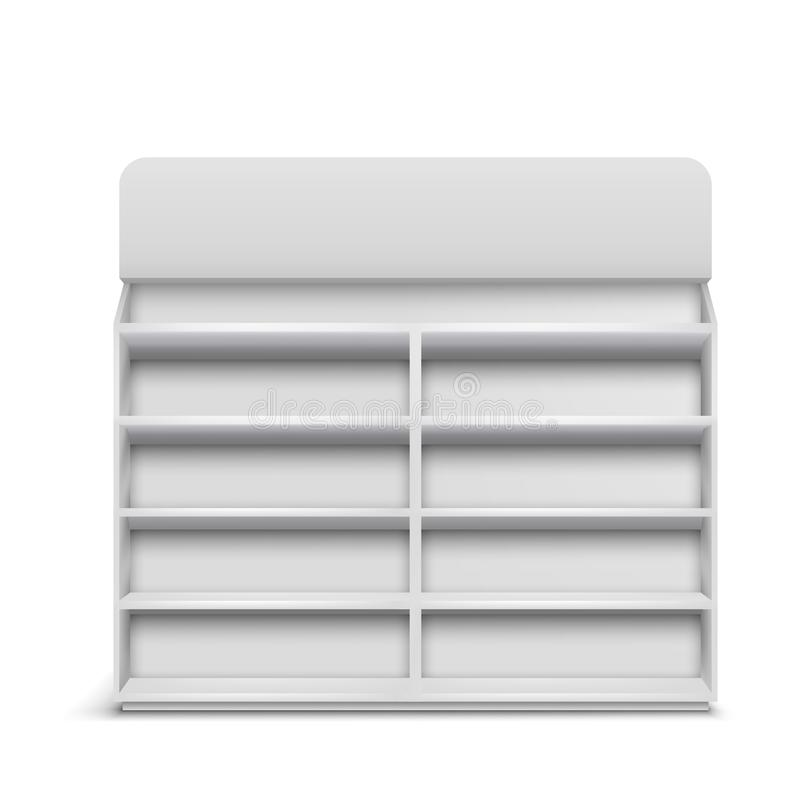 Shop rack with empty shelves realistic vector. Supermarket showcase with empty shelves, rack with blank sign board 3d realistic vector isolated on white. Shop stock illustration