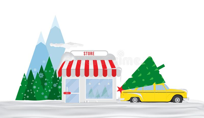 Shop for sale of Christmas trees. Taxi in the snow is parked in front of the store in the background of mountains and trees. Flat stock illustration