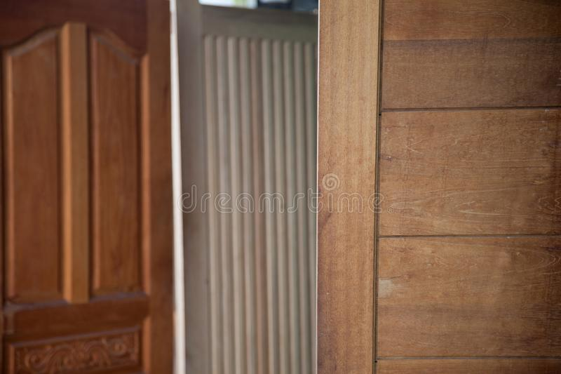 Shop for sale door they set up to show many doors and pattern for the customers stock image